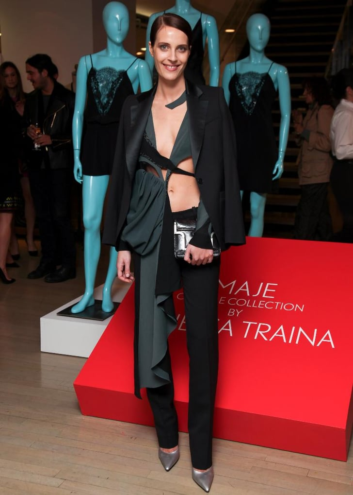 Vanessa Traina inblack tuxedo jacket and pant from Vanessa Traina for Maje
