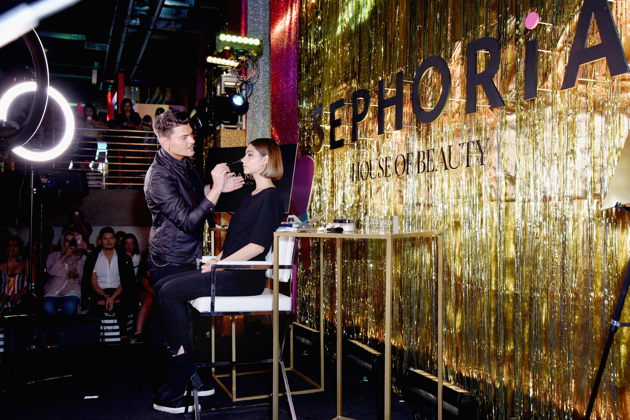 LOS ANGELES, CA - OCTOBER 21:  Mario Dedivanovic (L) speaks onstage during SEPHORiA: House of Beauty - Session Four at The Majestic Downtown on October 21, 2018 in Los Angeles, California.  (Photo by Presley Ann/Getty Images for Sephora)