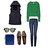 Get preppy with a bit of a twist when you employ a puffer vest (bonus points for one with a functional hood!) to top off a bright knit and go-to skinny jeans. While the vest lends a relaxed feel, turn it up a notch with a sophisticated print on your loafers and a pair of ultrachic shades. Get the look:  Theory Courchevel CB Women's Classic Puffer Vest ($69, originally $99) Acne Lia Chunky-Knit Cotton Sweater ($280) Juicy Couture Sedgwick Dark Wash Vintage Skinny Jean ($165) Sam Edelman Alvin Loafer Leopard Hair Calf ($75, originally $150) Comme Des Garcons Luxury Wallet ($296) Karen Walker Eyewear Anywhere Sunglasses ($280)