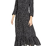 Beachlunchlounge Pia Dot Pattern Long-Sleeve Crepe Dress