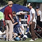 David Beckham hung out on the sidelines of his sons' soccer game.