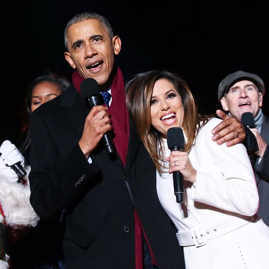 "Marc Anthony and Eva Longoria Sing ""Jingle Bells"" With Obama"