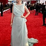 January Jones in an ice blue gown.