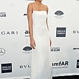 Chanel Iman, wearing Calvin Klein, at amfAR's New York Gala.