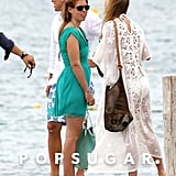 Princess Beatrice chatted with friends while waiting for a boat in Saint-Tropez in July 2012.