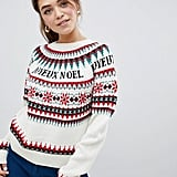 ASOS Design Fairisle Slogan Christmas Sweater