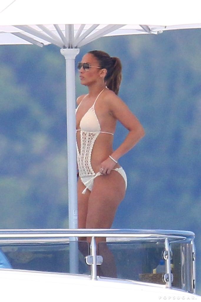 Jennifer Lopez's Crochet Swimsuit in Paris