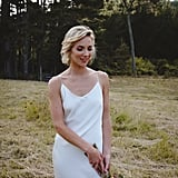 Real Bride Wearing a White Slip Wedding Dress