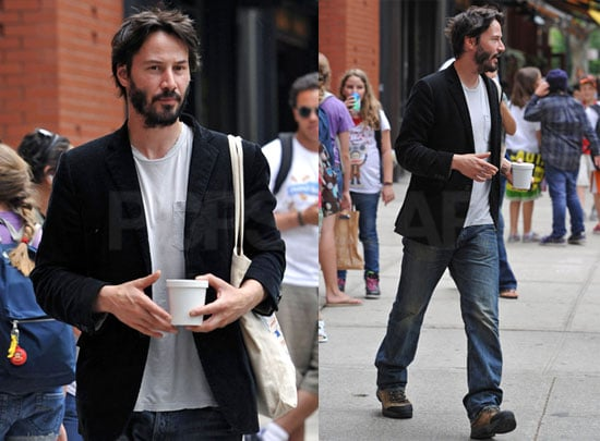 Pictures of Keanu Reeves Leaving Bar Pitti in NYC Without Charlize Theron