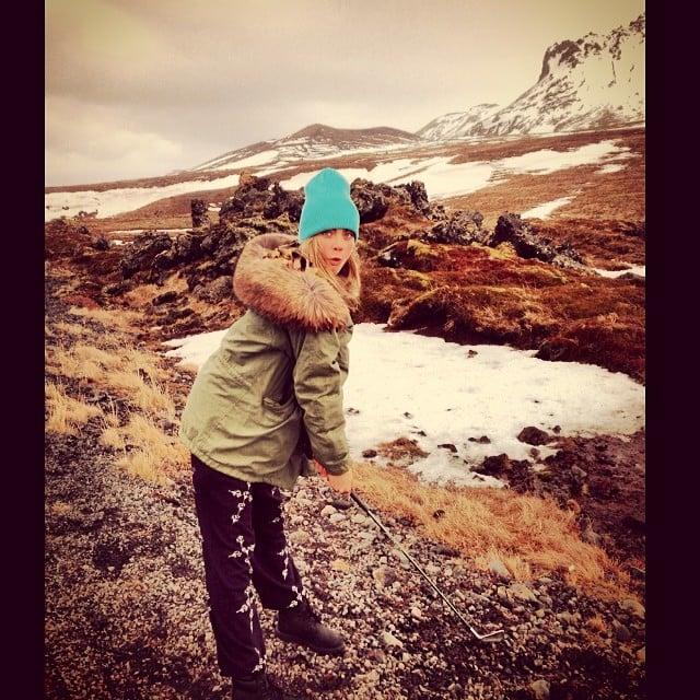 Cara Delevingne went golfing in the snow. Source: Instagram user caradelevingne