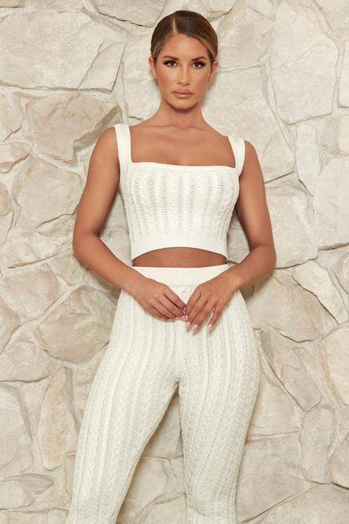 Meshki Penelope Cable Knit Crop Top  - Cream