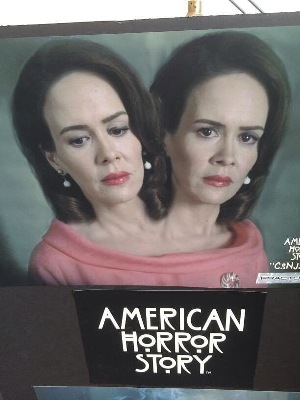 First, Paulson tweeted out this picture, giving us the initial clue that she would be playing conjoined twins in Freak Show. The image was photoshopped but soon followed up by . . .