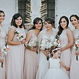The varying beige and cream colors came together flawlessly with the white dresses worn by the bride and her flower girl.