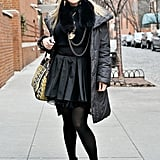 Leather pleats gave this ensemble a girlie-gone-edgy finish – embellished booties sealed the deal.