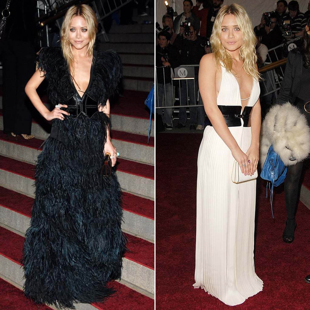 Twinning combo: The stylish sisters had tails wagging in two plunging belted gowns at the 2007 Costume Institute Gala in NYC.  Mary-Kate oozed gothic glamour in a full-feathered creation, sweeping updo, and gold-trim box clutch. Ashley wore a white pleated gown with a contrasting black leather belt and sleek white clutch.