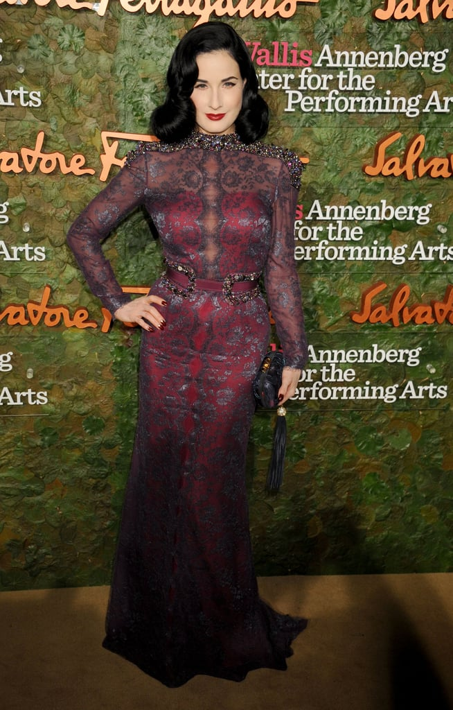 Dita Von Teese wore a stunning gown with a unique print to the Annenberg Gala.