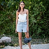 Style a Silk Cami With Denim Shorts and Orange Heels