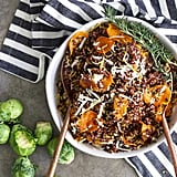 Crispy Brussels Sprouts With Quinoa and Brown Butter Maple Glazed Sweet Potatoes