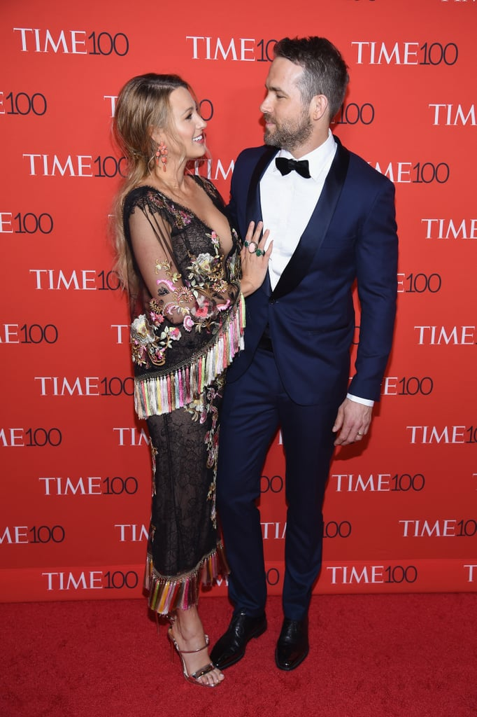 "Ryan Reynolds and Blake Lively showed up in style for the annual Time 100 Gala in NYC on Tuesday night. The actor looked handsome in a blue suit while Blake was her usual stunning self in an embroidered Marchesa dress with rainbow tassels; Ryan took turns posing with Blake as well as with his mom, Tammy, who we also got to see back in December when Ryan was honored with a star on the Hollywood Walk of Fame. The Time event also brought out fellow stars Naomi Campbell, Viola Davis, John Legend, and Moonlight director Barry Jenkins, who all made Time's list of the Most Influential People of 2017 along with Ryan. His Woman in Gold costar Helen Mirren sang his praises in a heartfelt essay for the magazine, saying, ""He's the Everyman, but somehow with more of everything: wit, elegance, looks and general hunkiness."" The last time we saw the couple on the red carpet together was at the Golden Globes back in January — where the Deadpool actor shared an impromptu kiss with Andrew Garfield — but Blake made headlines during a solo outing last week. While attending the Variety Power of Women Luncheon, where she was being honored for her contributions to worthy causes, Blake was asked by a reporter what her ""go-to power outfit"" is. The former Gossip Girl star didn't take too kindly to the question, snapping, ""Come on, what about building women up? Outfits? Would you ask a man that?"" When the reporter attempted to explain her question, Blake cut-in: ""I know, but you wouldn't ask a man what a power outfit was. I'm sorry, but this is the moment that we become more aware, and that we change, and that we build women up. So, you can ask me another question."""