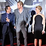 Pictured: Mark Ruffalo, Chris Hemsworth, and Scarlett Johansson