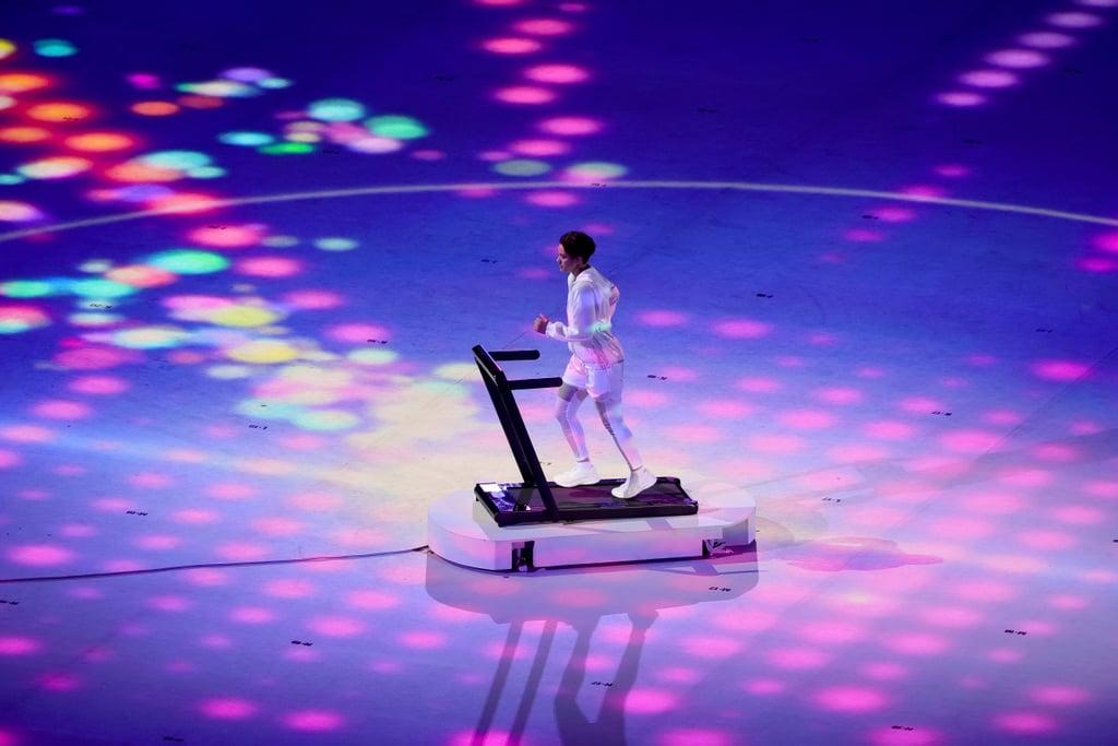 2021 Olympics Opening Ceremony: Athlete Runs on Treadmill