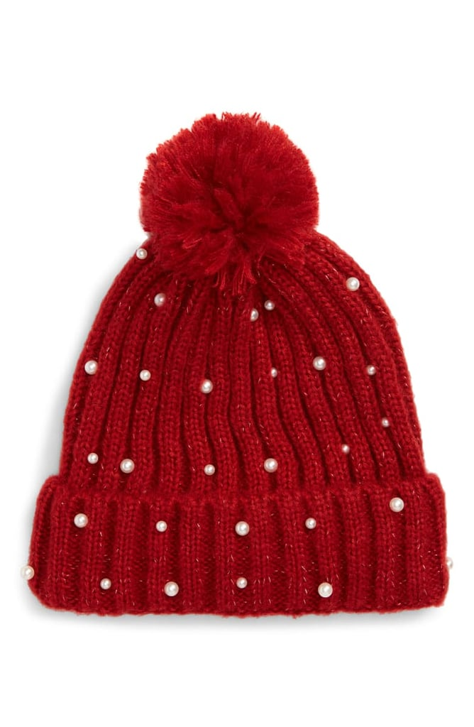 Halogen x Atlantic-Pacific Pearl Bead Metallic Beanie