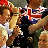 Prince Harry enjoyed the atmosphere at the track cycling competition.