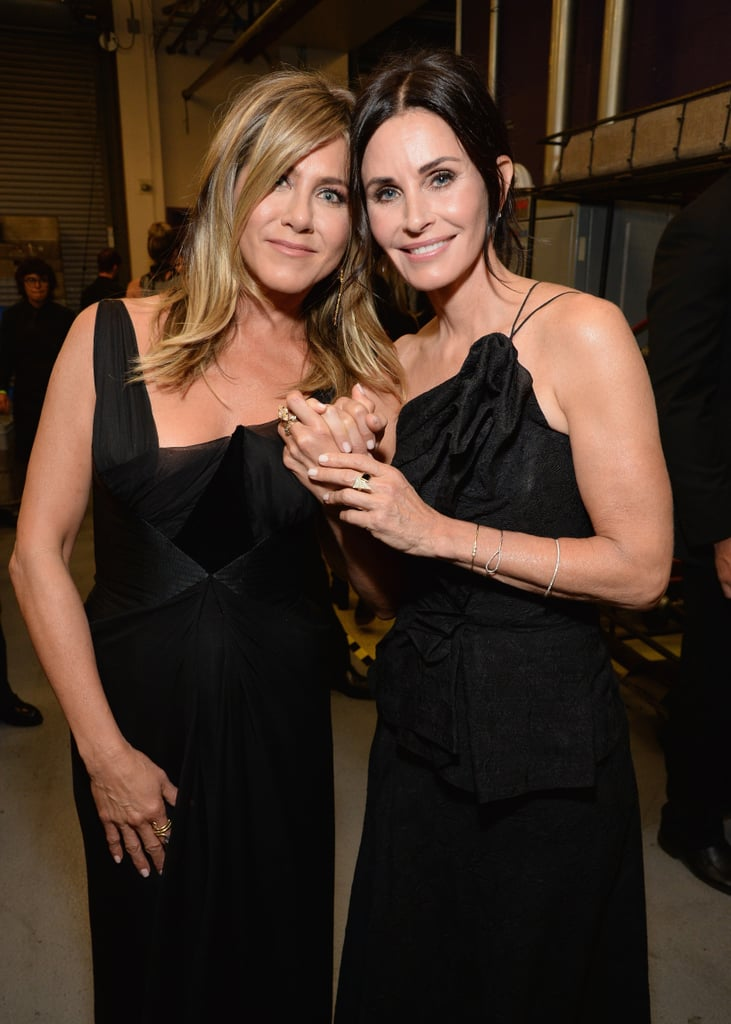 It must be our lucky week, because Jennifer Aniston and Courteney Cox just blessed us with yet another joint appearance. After attending a benefit in Malibu on Saturday, the former Friends costars and real-life friends were all smiles as they attended the AFI Life Achievement Award Gala Tribute in LA on Thursday. The two were twinning in black gowns as they posed for photographers on the red carpet. Friendship goals, am I right? So who do we have to thank for this glorious friendship outing? None other than George Clooney.  The ladies were on hand to pay tribute to the 57-year-old actor, who was this year's recipient of the esteemed life achievement award. George previously appeared on Friends as a doctor who dated Jennifer's character, Rachel. Aside from making a speech together on stage, Jennifer and Courteney also caught up with their former costar and his wife Amal backstage as they gave a round of hugs. See more of their stunning appearance ahead.