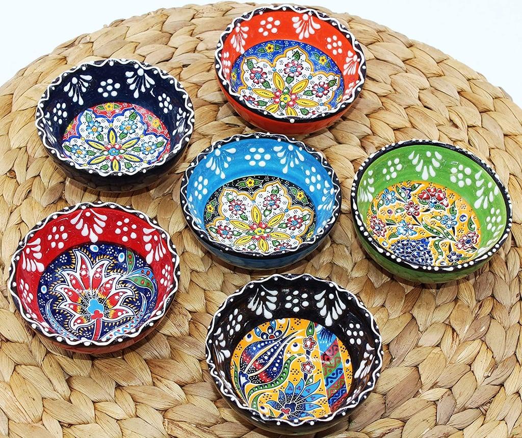 HeraCraft Decorative Turkish Ceramic Bowl Set of 6 Serving (3.15''- 8cm)