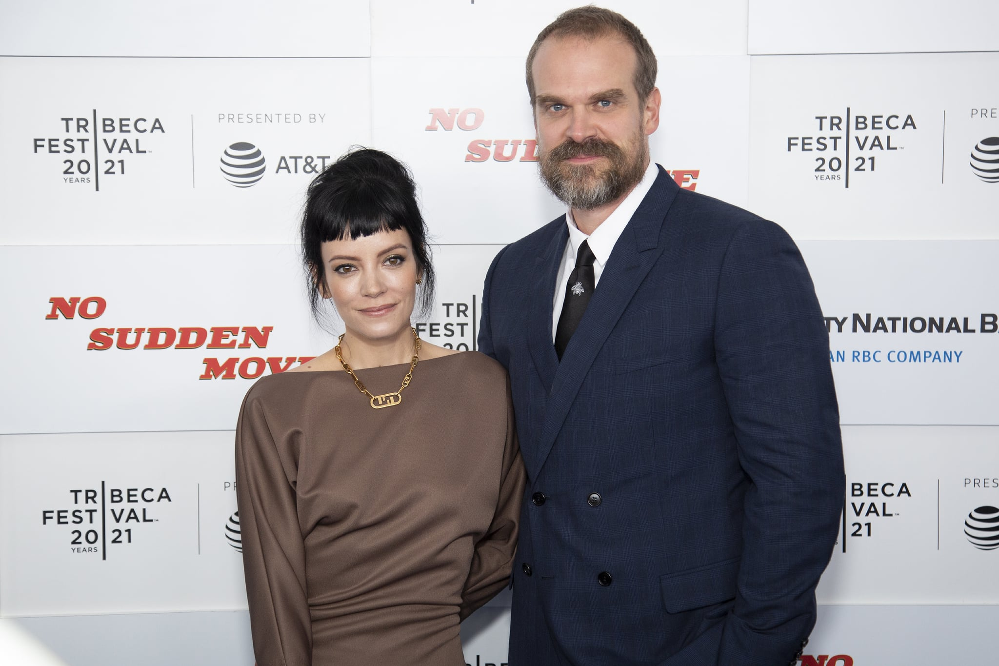 NEW YORK, NEW YORK - JUNE 18: Lily Allen and David Harbour attend 'No Sudden Move' during 2021 Tribeca Festival at The Battery on June 18, 2021 in New York City. (Photo by Santiago Felipe/Getty Images)