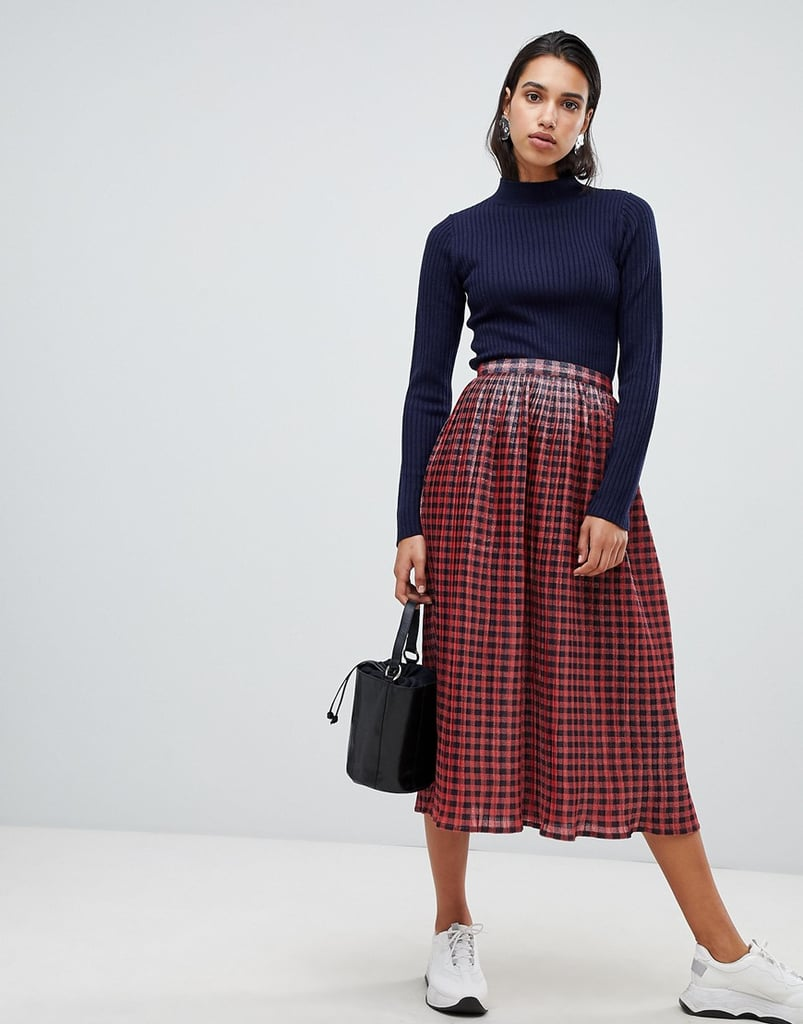 ASOS Design Metallic Check Pleat Midi Skirt
