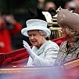 The queen waved to spectators during her carriage ride on the final day of celebrations.