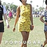 Solange Knowles wore a lemon-print shift to the field.