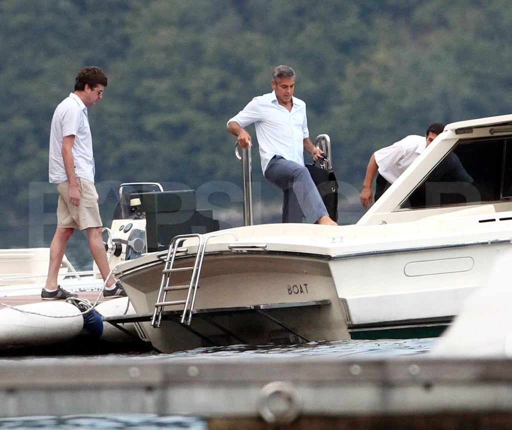 George Clooney hangs out at Lake Como.