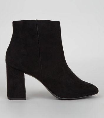 Black Suedette Square Toe Boots