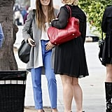 Jessica Biel chatted with a friend after grabbing lunch in Santa Monica.