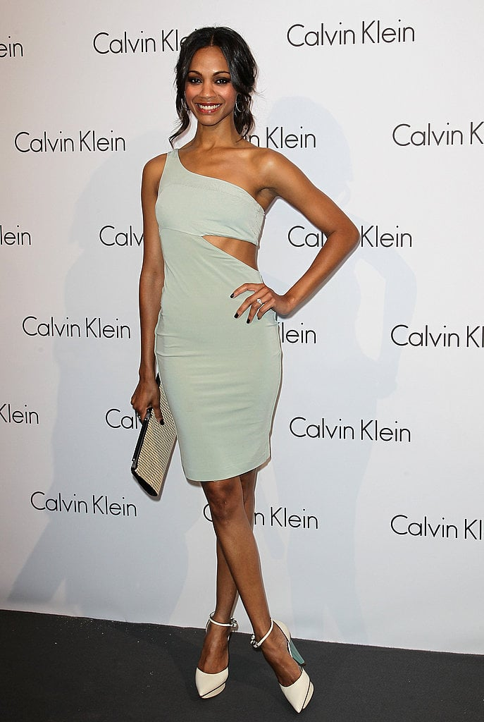How stunning is Zoe's sage-green cutout dress by Calvin Klein?