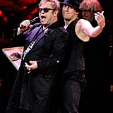 Elton John and Channing Tatum had fun on stage at the Revlon Concert for the Rainforest Fund at Carnegie Hall in NYC.