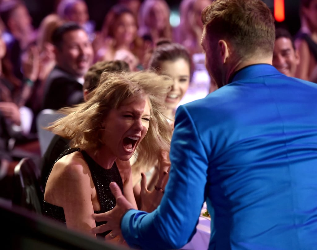 """Taylor Swift's excitement was through the roof when she won the award for best lyrics at Sunday's iHeartRadio Music Awards in LA. Well, OK, she may have been joking, but when the pop star's name was announced, Justin Timberlake jokingly stood up and acted like he'd won or he was going to accept the award on her behalf, with Taylor pointing and cheering alongside him. The pair cracked up, and once Taylor took the stage, she made a point to thank fans for their support and clarify once and for all that the line in """"Blank Space"""" refers to a """"long list of ex-lovers,"""" not """"Starbucks lovers."""" Keep reading to see hilarious pictures of Taylor and JT's antics plus a Vine that perfectly captured the moment, then check out all the stars at the iHeartRadio Music Awards and Justin's sweet shout-out to Jessica Biel."""