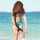 Beyoncé broke from an H&M photo shoot to hit the sand with Blue.  Source: Beyoncé on Tumblr
