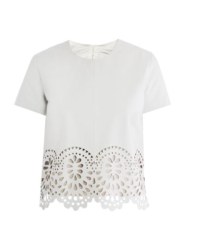 The laser-cut leather and sleek white finish make this Lover leather t-shirt ($562) one of our favorite ways to wear the trend.