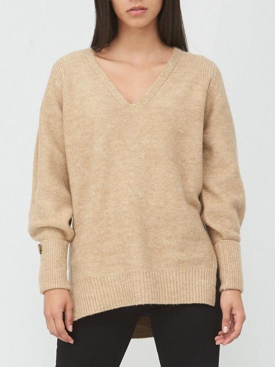 V by Very V-Neck Button Cuff Step Hem Knitted Jumper