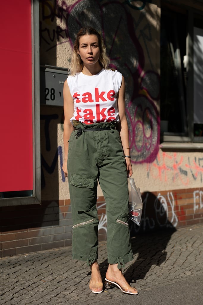 Want to keep your cargos from feeling like a blast from the past? It's all in the right cut, like this paperbag waist, and contemporary pieces like a cool tee and PVC slides to give it edge.