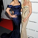 She hit the red carpet with designer Donatella Versace at the May 2012 Glamour Women of the Year Awards in London.