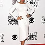 Crisp white was a sharp choice for Jennifer Hudson, whose minimalist dress was stunning. Instead of flashy shoes, she finished the look with simple sandals.