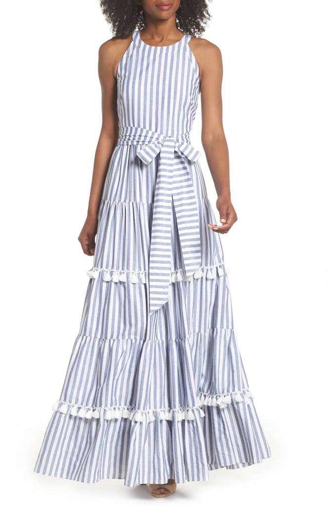 3af2f414af0 Eliza J Tiered Tassel Fringe Cotton Maxi Dress