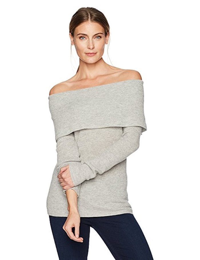 Lark & Ro 100% Cashmere Off-the-Shoulder Sweater