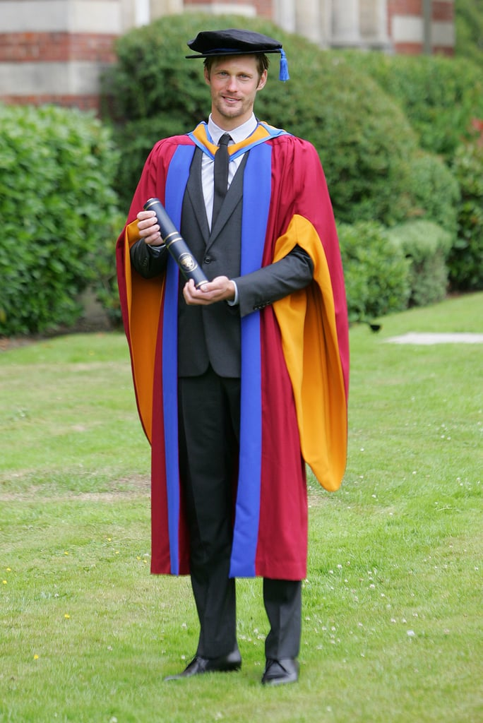 Alexander Skarsgard donned a cap and gown this afternoon to accept his honorary degree from Leeds University in the English city of Leeds. The True Blood actor proudly held his diploma in the air to show off the accomplishment. Alexander is off in Europe during a break from promoting his hit HBO series. True Blood's season four kicked off last month to amazing ratings. Next up for Alexander will be a different sort of leading man role. Alexander will play a viking in the upcoming The Vanguard, and it will be his first-ever leading role.