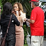 Jennifer had her hair and makeup touched up by the crew.