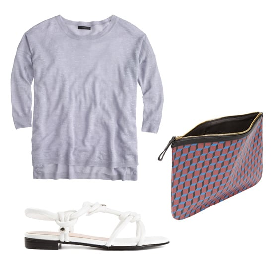 Get the look:  J.Crew Tunic Sweater ($80) Pierre Hardy Cube-Print Large Zip Pouch ($225) Opening Ceremony Strappy Sandals ($315)